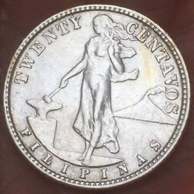 1945 D  Philippines 20 Centavos .75 Silver ***AU/UNC*** LUSTER TONED COIN