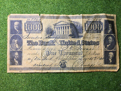 NOVELTY 1840 $1000 Bank Note Bank of United States Parchment Paper Serial # 8894