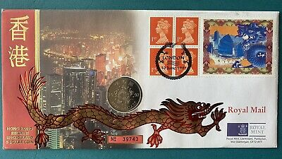 1997 Hong Kong 5 Dollar Bu Coin And Stamps First Day Issue Cover Royal Mint