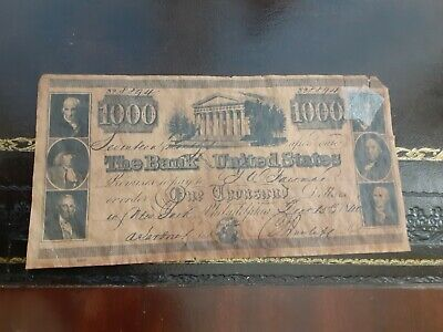 1000 The Bank Of The United States Bank Note