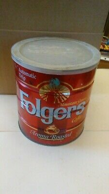 """vintage Folgers Metal coffee can, 39 oz.""""for all coffee makers""""  Aroma Roasted"""