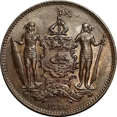 1886-H One Cent, British North Borneo (Malaysia), Choice AU, Almost Uncirculated