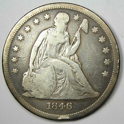 1846-O Seated Liberty Silver Dollar $1 - Fine Details - Rare Date O Mint Coin!