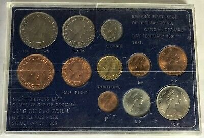 1971 Britain's First Issue of Decimal Coins & Pre-Decimal Coins - Set of Eleven