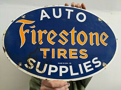 Old Large Vintage Dated 1953 Firestone Tires Auto Supplies Porcelain Enamel Sign