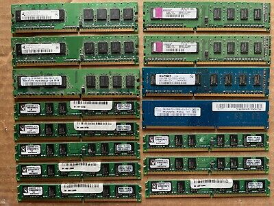 Lot of 15 various brands scrap computer memory for gold recovery.