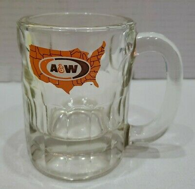 Vintage A&W Root Beer Mini U.S MAP Logo 1970's Original Authentic Mug Heavy!