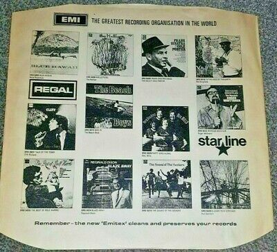 "Vintage INNER SLEEVE 12"" EMI ADVERTISING REGAL STARLINE TALISMAN"