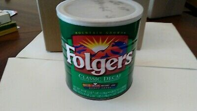 Vintage Folgers Metal coffee can, 39 oz Classic Decaf Wrapped in Vinyl Used