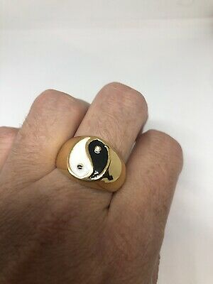Vintage Ying Yang Ring Golden Stainless Steel Mens Size 11