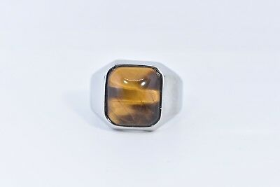 Vintage Stainless Steel Genuine Tiger's Eye Size 8 Men's Ring