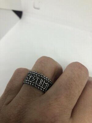 Vintage Runes Band Stainless Steel Eternity Ring Size 8