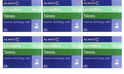 6x30 Loratadine 10mg Hayfever and Allergy Relief - 180 Tablets 6 MONTHS CLARITYN