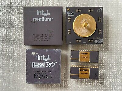 Lot of 5 various scrap cpu ic for gold recovery.