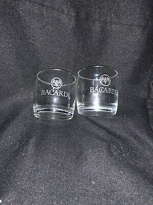 """2 Collectible Advertising Bacardi Rocks Glass 3"""" Etched Barware Rounded Bottom"""