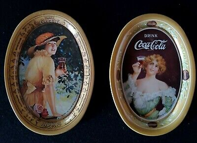 Lot of (2) Yellow Drink Coca-Cola 1973 6 Inch  Oval Tin Metal Trays
