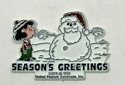 Vintage Peanuts Lucy & Snowman Seasons Greetings Christmas Rubber Magnet Snoopy
