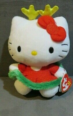 "Ty Beanie Babies Hello Kitty 6"" Christmas Reindeer Red Green Plush Doll (New)"