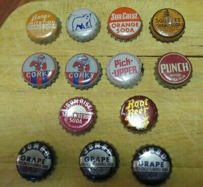 Very Rare! Vintage Many Cork Lined 13 Bottle Caps -Pick Up -Punch - Barqs -Corky
