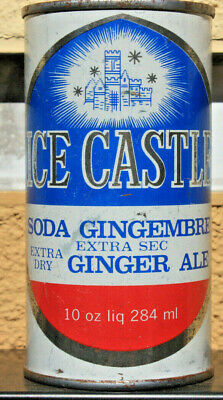 Flat Top 10 oz. Canada Ice Castle Ginger Ale Soda Can Canned in Montreal Quebec