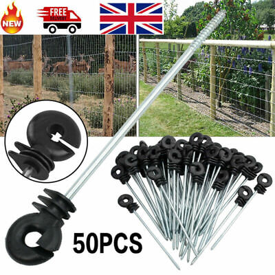 50X Long Ring Insulators Screw Distance Electric Fence Poly Wire Offset Black