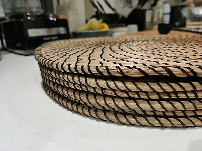 Luxury Brown Round Olive Wood-effect Set of 4 6 8 12  Placemats /& coasters Gift