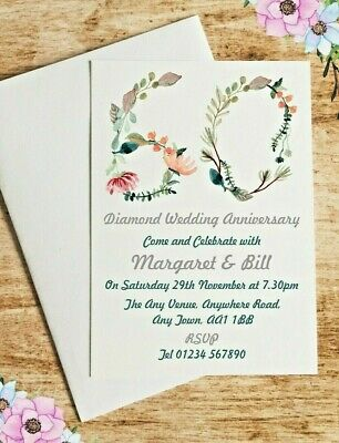 Personalised Any Number Wedding Anniversary Party Invites inc envelopes A23