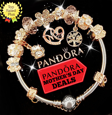 Authentic Pandora Charm Bracelet Rose Gold Mom White With European Charms New 75 00 Picclick