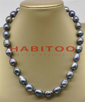 Natural 10x14mm Blue Irregular Turquoise /& Black Baroque Pearl Necklace 18/'/' AAA