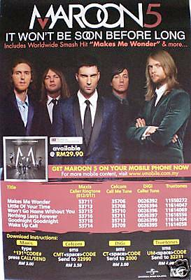 """Maroon5 """"it Won't Be Soon"""" Asia Promo Poster-Group Shot"""