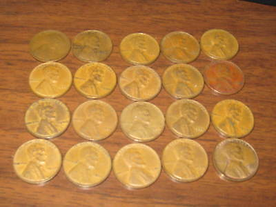 20 Wheat pennies 1909 to 1941                  c5