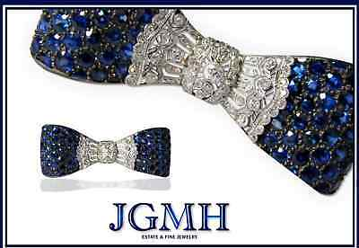 Antique Burma Sapphire, Diamond & Platinum Bow Pin
