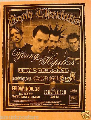 "Good Charlotte / Goldfinger ""young & The Hopeless Tour 2003"" L.a. Concert Poster"