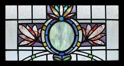 Art Nouveau Floral Rare English Antique Stained Glass Window