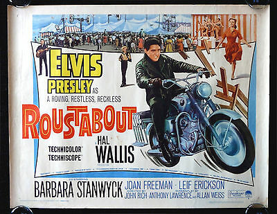 ROUSTABOUT * CineMasterpieces MOVIE POSTER 1964 ELVIS PRESLEY BIKER MOTORCYCLE