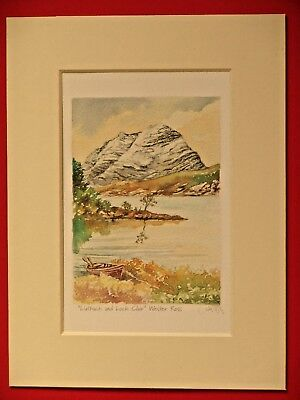 Liathach Torridon Wester Ross Scotland Charming Mounted Water Colour Print 8X6