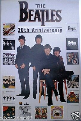 "BEATLES ""30th ANNIVERSARY"" GERMAN PROMO POSTER - Group Shot & 15 Album Covers"