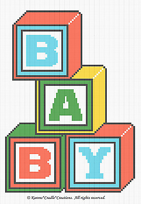 Crochet Patterns- BABY BLOCKS Color Graph baby afghan Pattern