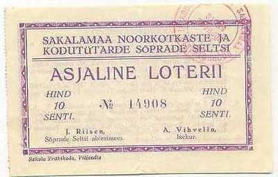 Estonia Young Eagles Sakalamaa Lottery Ticket 1940