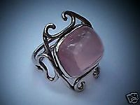 Arts & Crafts Period Rose Quartz & Sterling Silver Ring