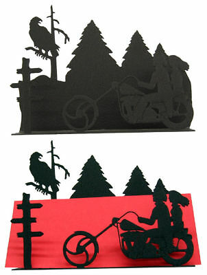 Motorcycle Couple Black Metal Desk Accessory/Letter