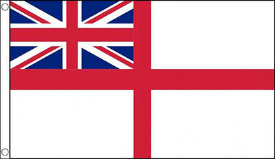 WHITE ENSIGN FLAG 5' x 3' British Royal Navy Naval Union Jack St George Cross
