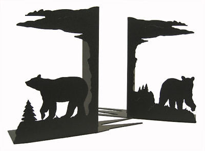 Bear black metal bookends (sold as a pair)