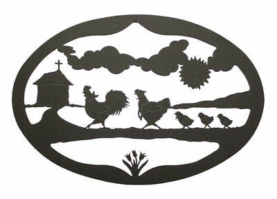 Poultry Rooster, hen & chicks black metal oval wall art decor