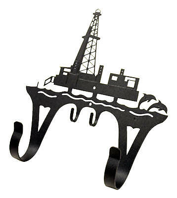 Offshore oil rig black metal coat hook
