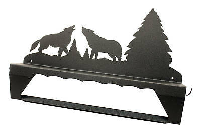 Howling wolves black metal towel bar with shelf
