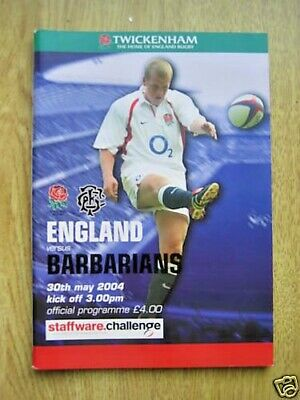 England v Barbarians 2004 Rugby Programme