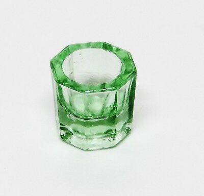 Glass Dappen Dish - Green Acrylic Liquid Holder Container Dental Cosmetology