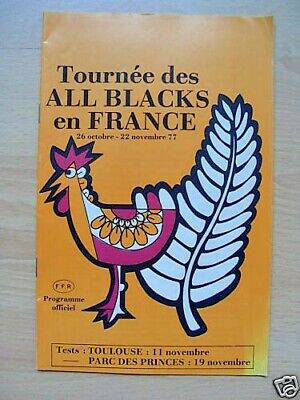 France v New Zealand 1st Test 1977 Rugby Programme