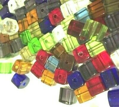 50 pieces 6mm Crystal Glass Square / Cube Beads - Assorted Mixed - A3070